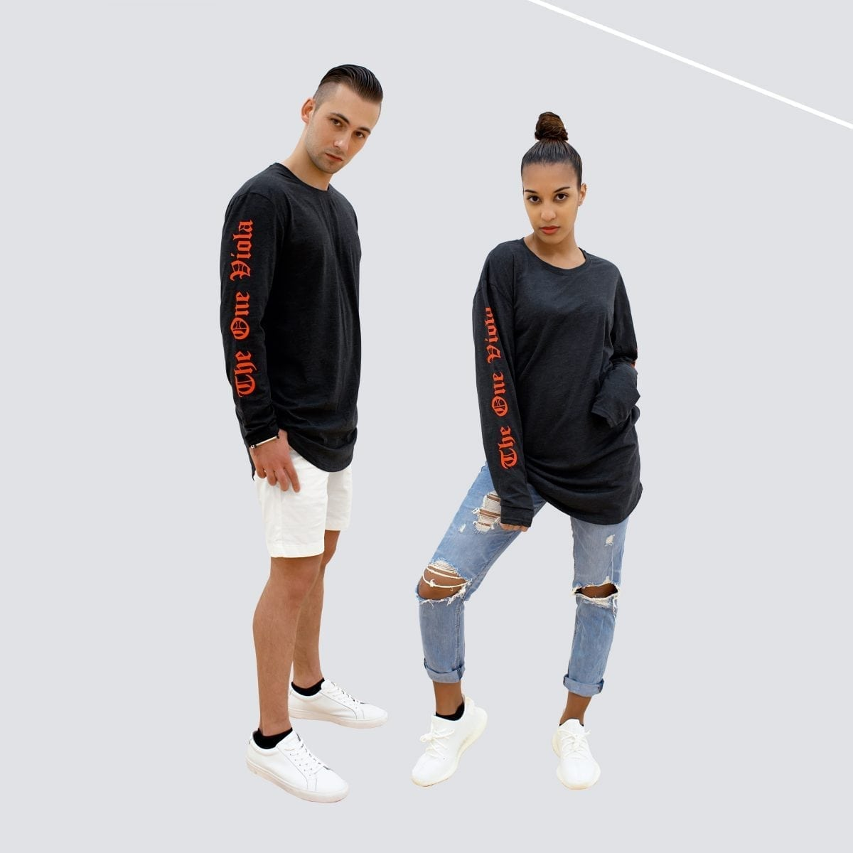 man and woman wearing unisex oversized long sleeve grey streetwear shirt