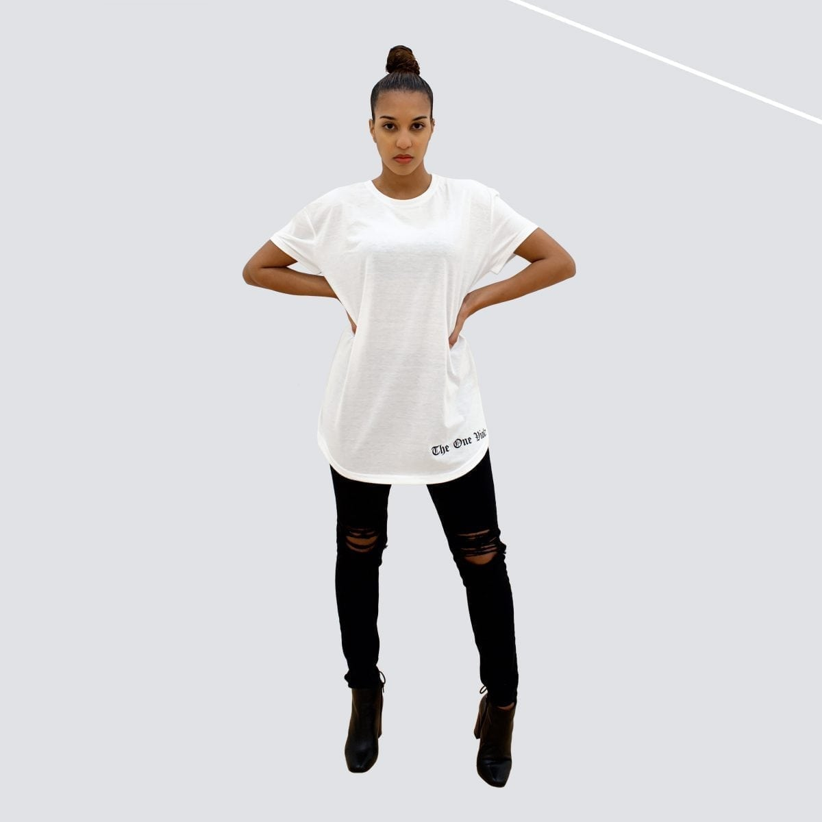 woman wearing unisex oversized white streetwear tshirt