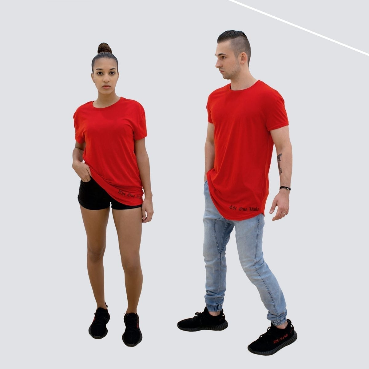 woman and man wearing unisex oversized red streetwear tshirt