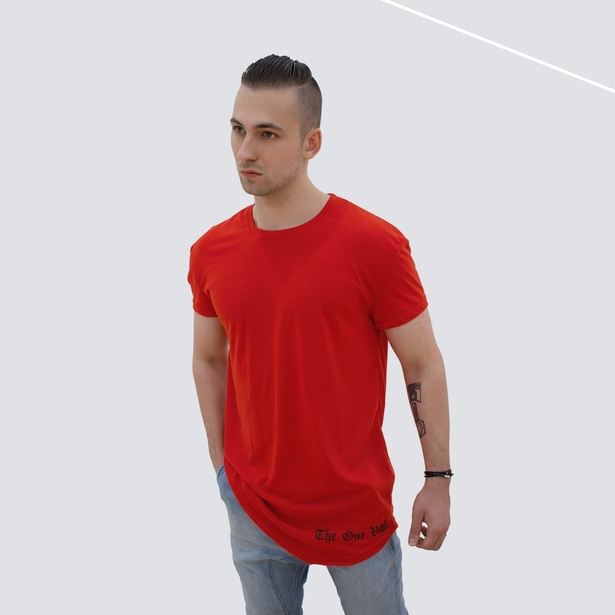 man wearing unisex oversized red streetwear tshirt