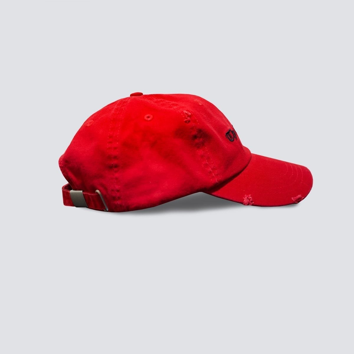 red distressed dad cap hat