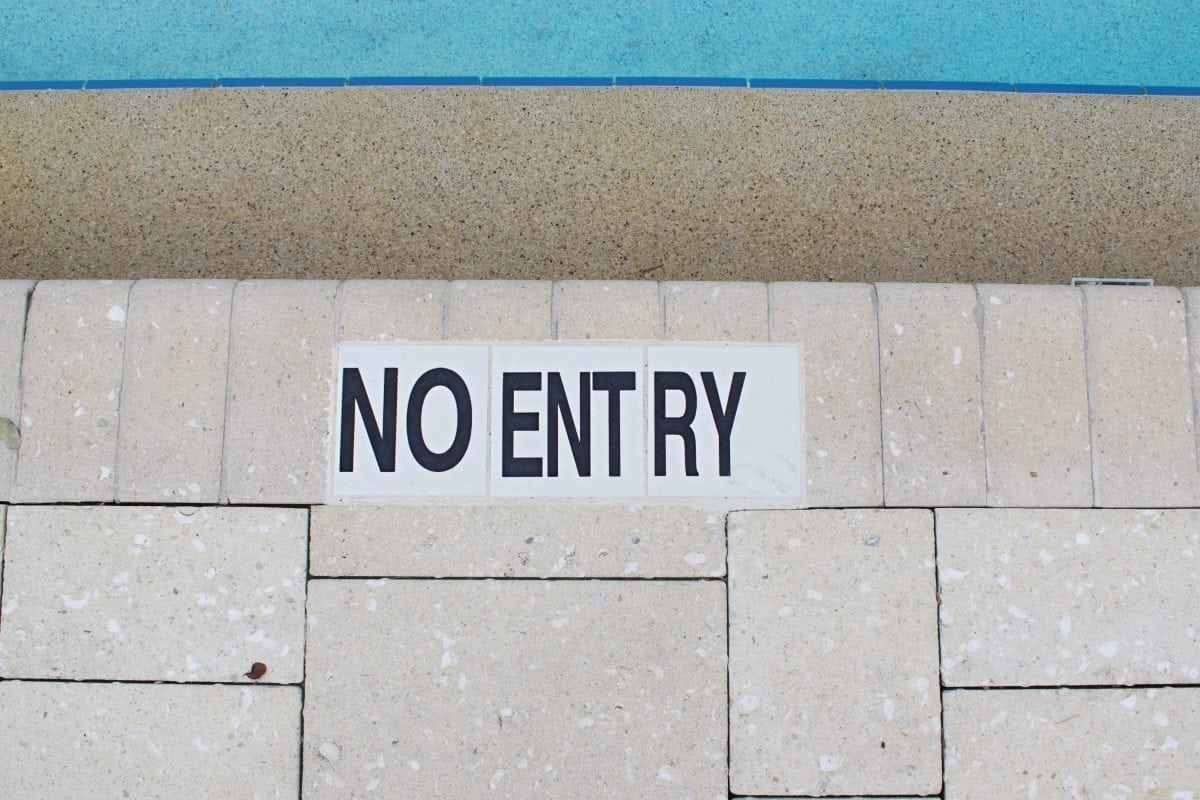 no entry pool sign
